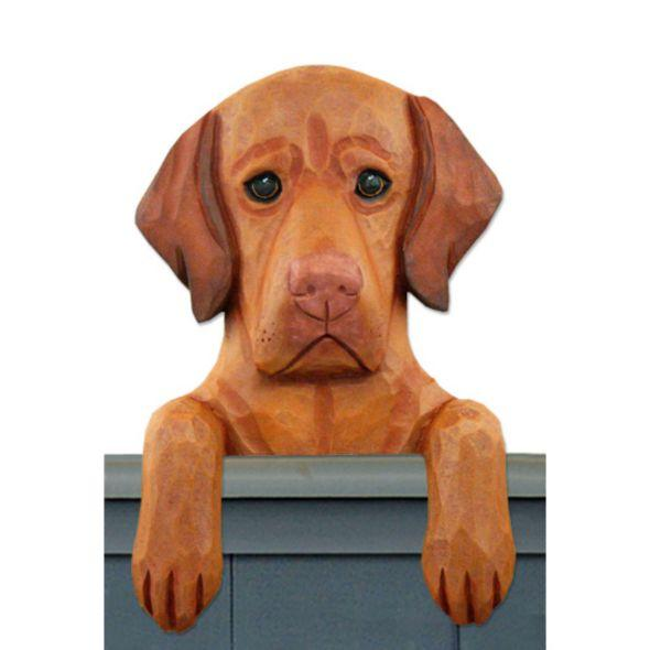 Wood Carved Vizsla Dog Door Topper