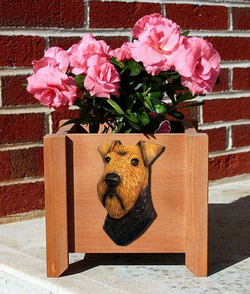 Handmade Welsh Terrier Dog Planter Box