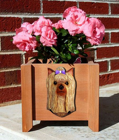 Handmade Yorkshire Terrier Dog Planter Box