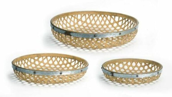 Woven Metal And Bamboo Tray Set Of 3
