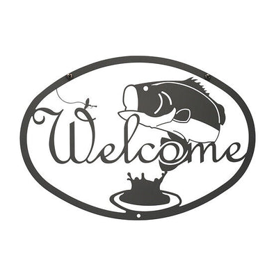 Wrought Iron Bass Fish Welcome Sign - Shugar Plums Gift Store