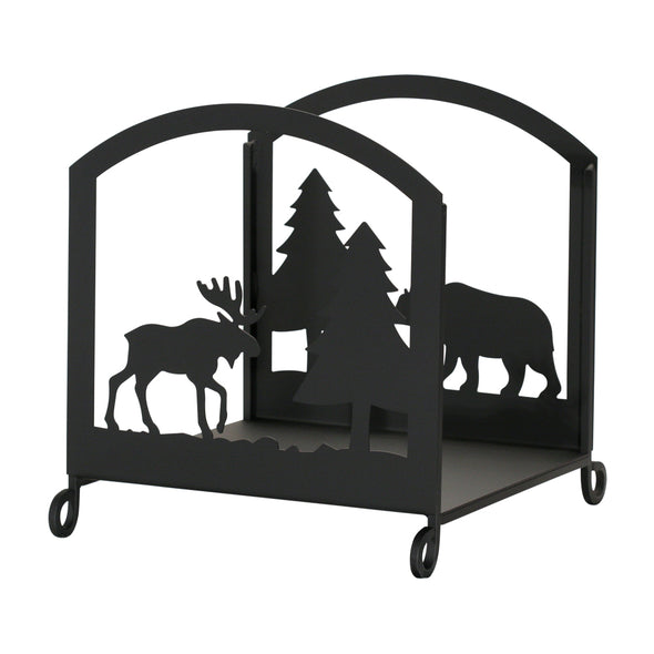 Rustic Wrought Iron Bear & Moose Firewood Holder