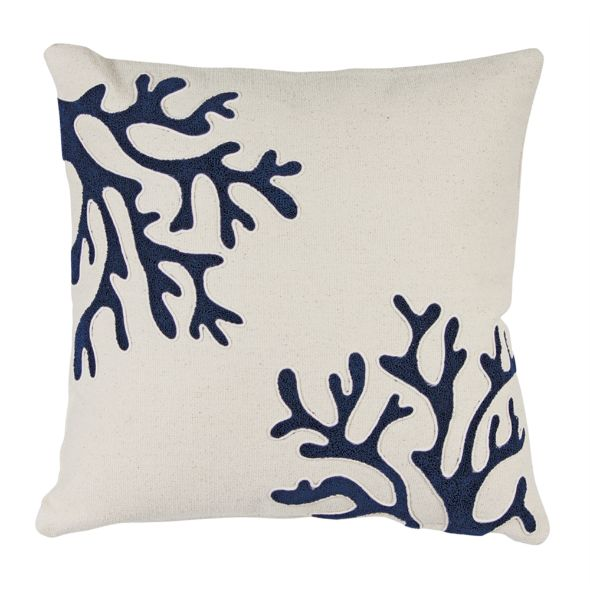 Coastal Blue Coral Throw Pillow Set