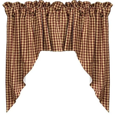 Primitive Swag Curtains - Burgundy Checkered 2/Set - Shugar Plums Gift Store