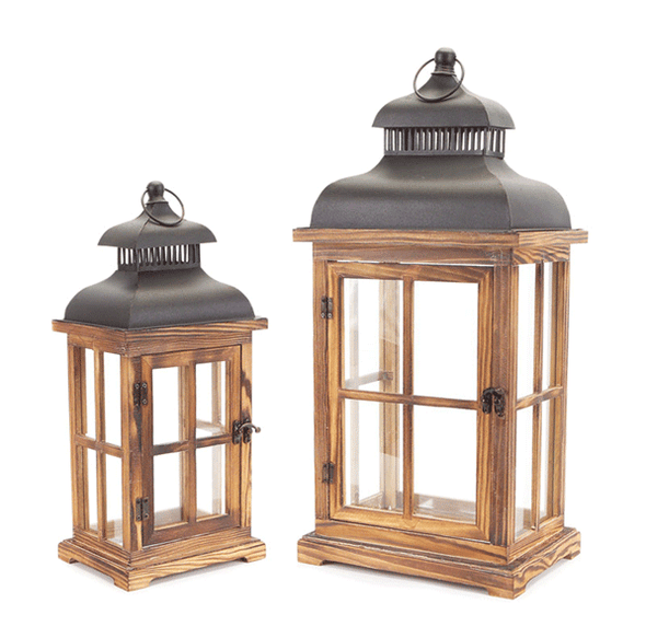 Large Wood Candle Lantern Set Of 2