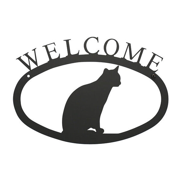 Cat Welcome Sign Wrought Iron Decor Small
