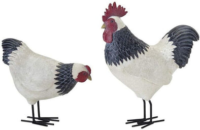 White and Black Hen and Rooster Chicken Décor - Set/2 - Shugar Plums Gift Store