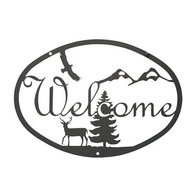 Rustic Wrought Iron Deer Welcome Sign - Shugar Plums Gift Store