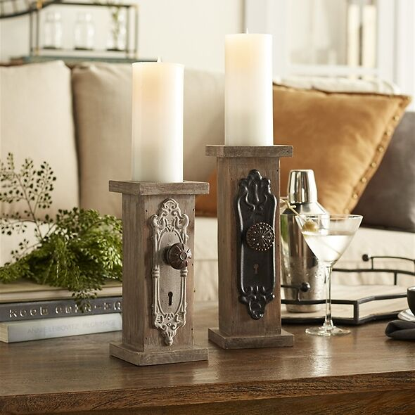 Distressed Door Knob Candle Holders -  Set Of 2