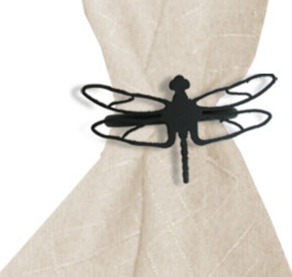 Wrought Iron Dragonfly Decorative Napkin Ring Set Of 2