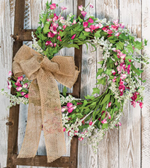 Pink Blossoms Dusty Miller Spring Wreath