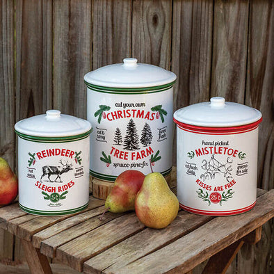 Vintage Farmhouse Christmas Canisters - Set Of 3 - Shugar Plums Gift Store