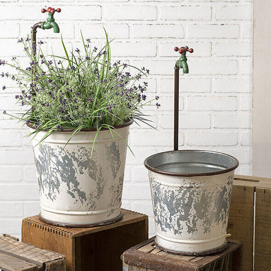 Faucet Flower Garden Planter Set Of 2