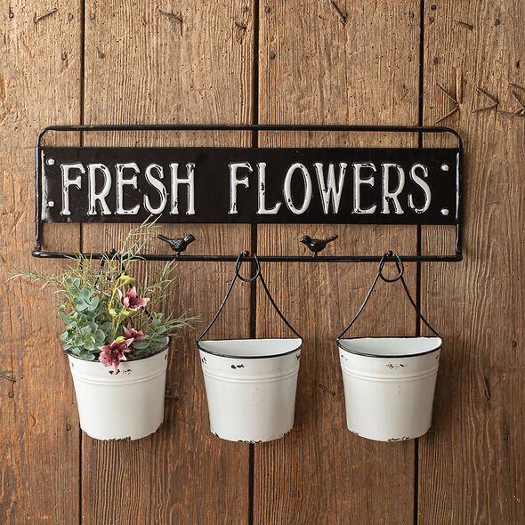 Distressed Fresh Flowers Metal Sign with Metal Buckets