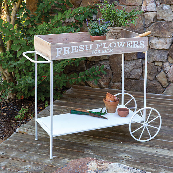 Fresh Flower Rolling Garden Cart