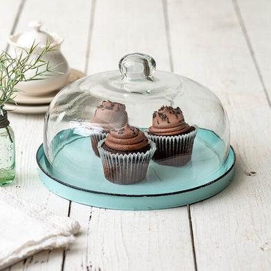 Farmhouse Glass Dessert Cloche With Base