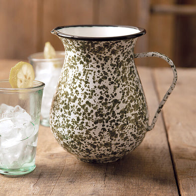 Green Enamel Speckled Pitcher - Shugar Plums Gift Store