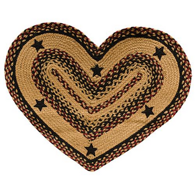 Blackberry Star Heart Primitive Rug - Shugar Plums Gift Store