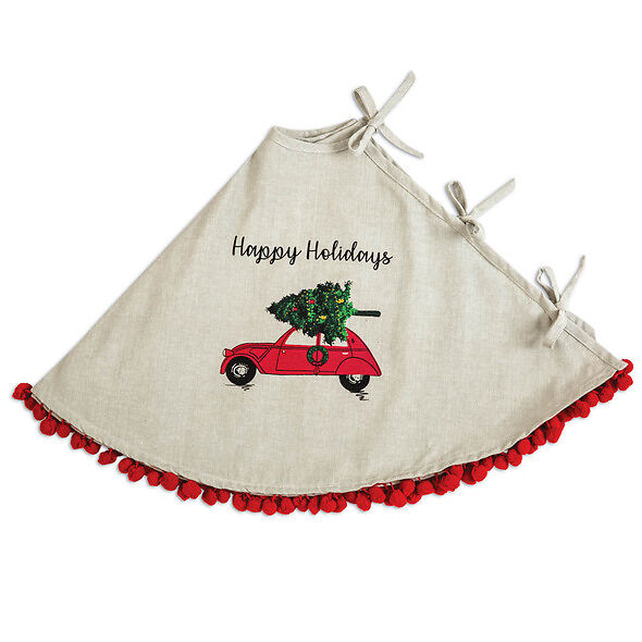 Happy Holidays Christmas Tree Skirt With Car