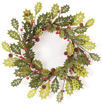 "Christmas Wreath - Holly Berry Wreath - 21""D - Shugar Plums Gift Store"