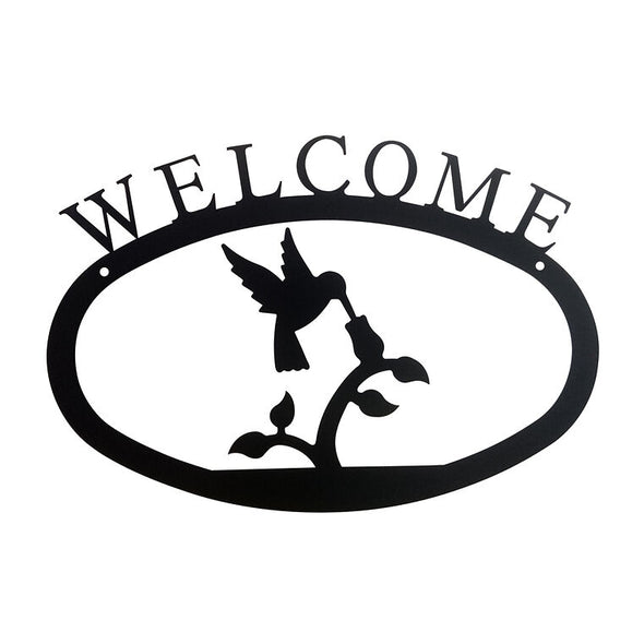 Wrought Iron Hummingbird Welcome Sign Large