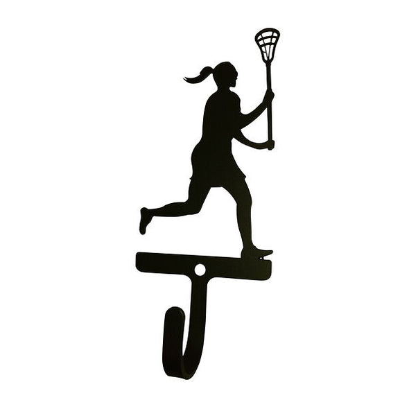 Women's Lacrosse Wrought Iron Decorative Wall Hook Small