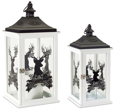 White With Black Accents Christmas Lantern Set of 2 with Deer - Shugar Plums Gift Store