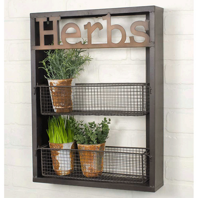 Farmhouse Rustic Herbs Wall Organizer - Two Tier Shelf - Shugar Plums Gift Store