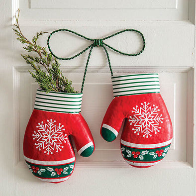 Metal Mittens Hanging Holiday Wall Decor - Shugar Plums Gift Store