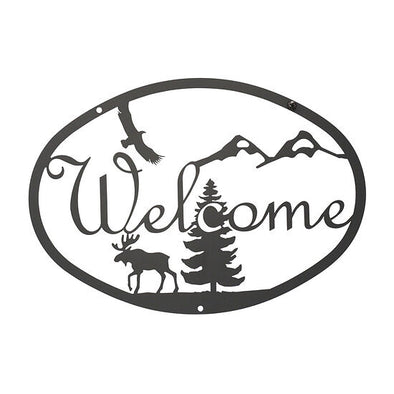Rustic Wrought Iron Moose & Eagle Welcome Sign - Shugar Plums Gift Store