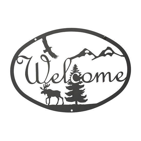 Rustic Wrought Iron Moose & Eagle Welcome Sign