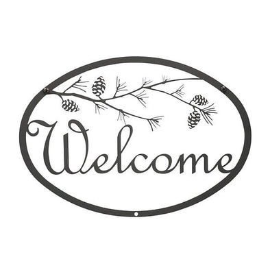 Wrought Iron Fall Pinecone Welcome Sign - Shugar Plums Gift Store