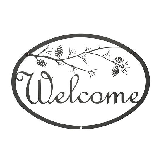 Wrought Iron Fall Pinecone Welcome Sign