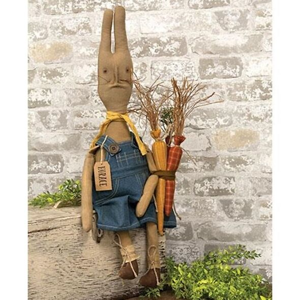 Grungy Horace Primitive Fabric Bunny Doll