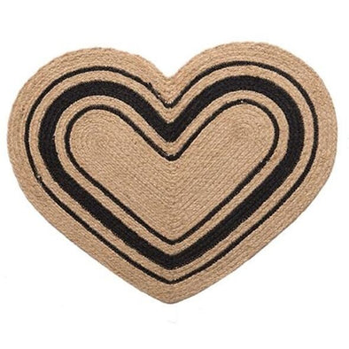 Primitive Jute Fiber Rug - Heart Shaped - Shugar Plums Gift Store