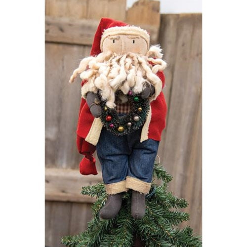 Primitive Santa Tree Topper - Xmas Tree Decoration