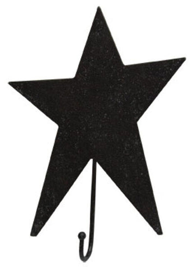 Black Primitive Folk Art Star Hook