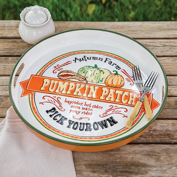 Fall Pumpkin Patch Round Serving Tray