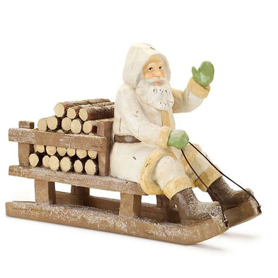 Santa Figurine On Sleigh With Firewood - Shugar Plums Gift Store