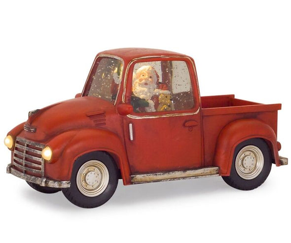 LED Red and White Vintage Truck Snow Globe