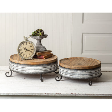 Farmhouse Wood And Metal Risers - Set/2 - Shugar Plums Gift Store
