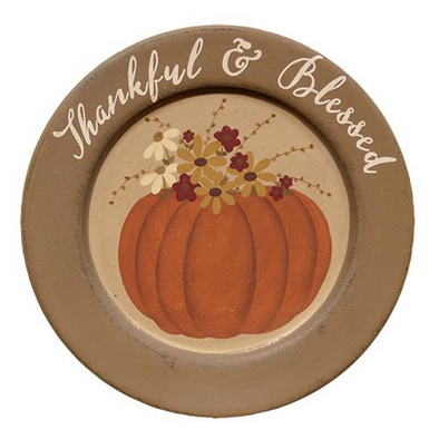 Thankful & Blessed Pumpkin Decorative Plate - Fall Home Decor - Shugar Plums Gift Store