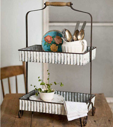 Whitewash Two-Tier Tabletop Caddy - Farmhouse Decor Kitchen - Shugar Plums Gift Store