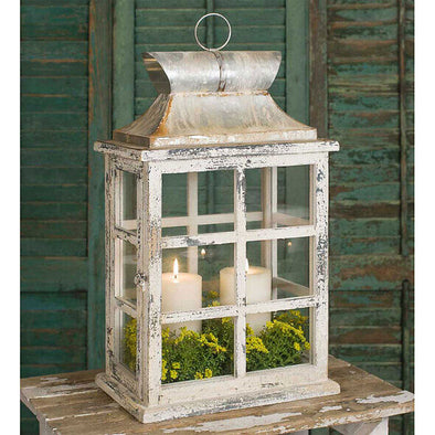Distressed Wood Decorative Lantern