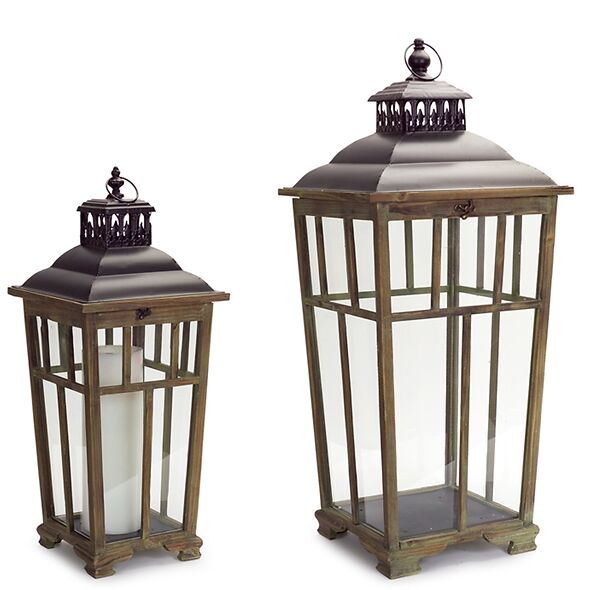 Wood And Glass Candle Lantern Set