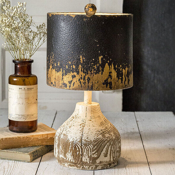 Wood Table Lamp with Metal Shade