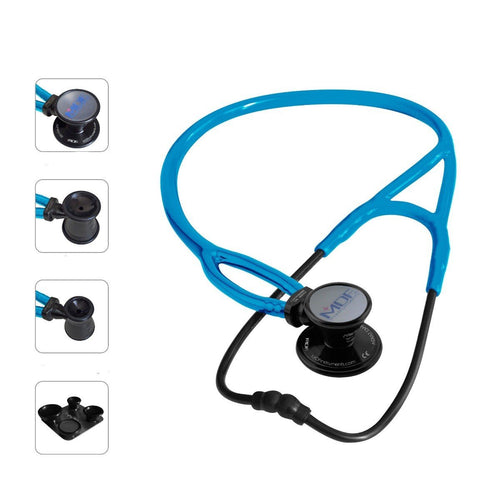MDF® ProCardial® ERA® Lightweight Cardiology Dual Head Stethoscope with Adult, Pediatric, and Infant-Neonatal Convertible Chestpiece (MDF797X) -  All Black and Bright Blue