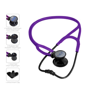 MDF® ProCardial® ERA® Lightweight Cardiology Dual Head Stethoscope with Adult, Pediatric, and Infant-Neonatal Convertible Chestpiece (MDF797X) - All Black and Purple