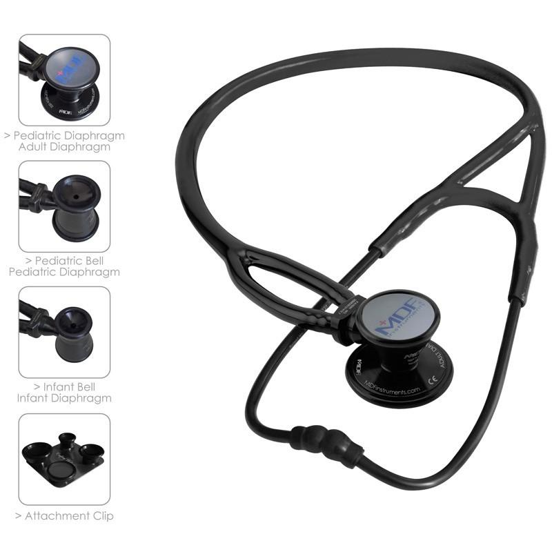 MDF® ProCardial® ERA® Lightweight Cardiology Dual Head Stethoscope with Adult, Pediatric, and Infant-Neonatal Convertible Chestpiece (MDF797X) - All Black