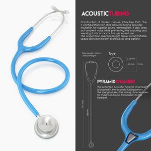MDF® MD One® Stainless Steel Dual Head Stethoscope (MDF777) - 淡蓝色